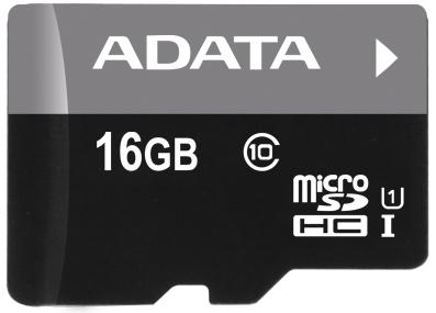 Карта памяти 16GB MicroSDHC UHS-i Class 10 ADATA + микро ридер черный