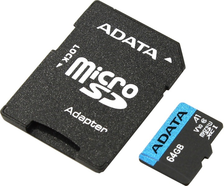 Карта памяти 64GB Adata Premier MicroSDHC UHS-I A1 Class 10 85/25 MB/s с адаптером transcend sdxc class 10 uhs i u3х 64gb карта памяти