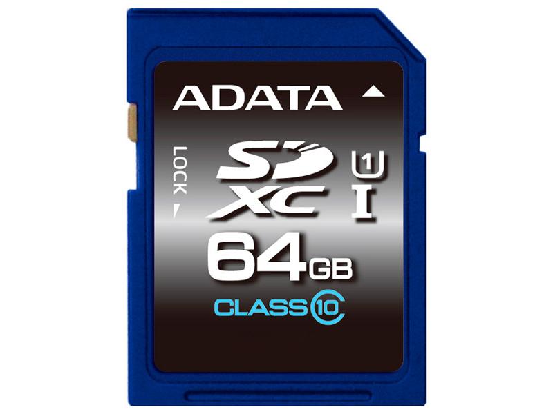 Карта памяти 64GB ADATA Premier SDXC/UHS-I class 10 (50/33МБ/с) adata premier sdxc sdhc uhs i class10 32gb memory card blue