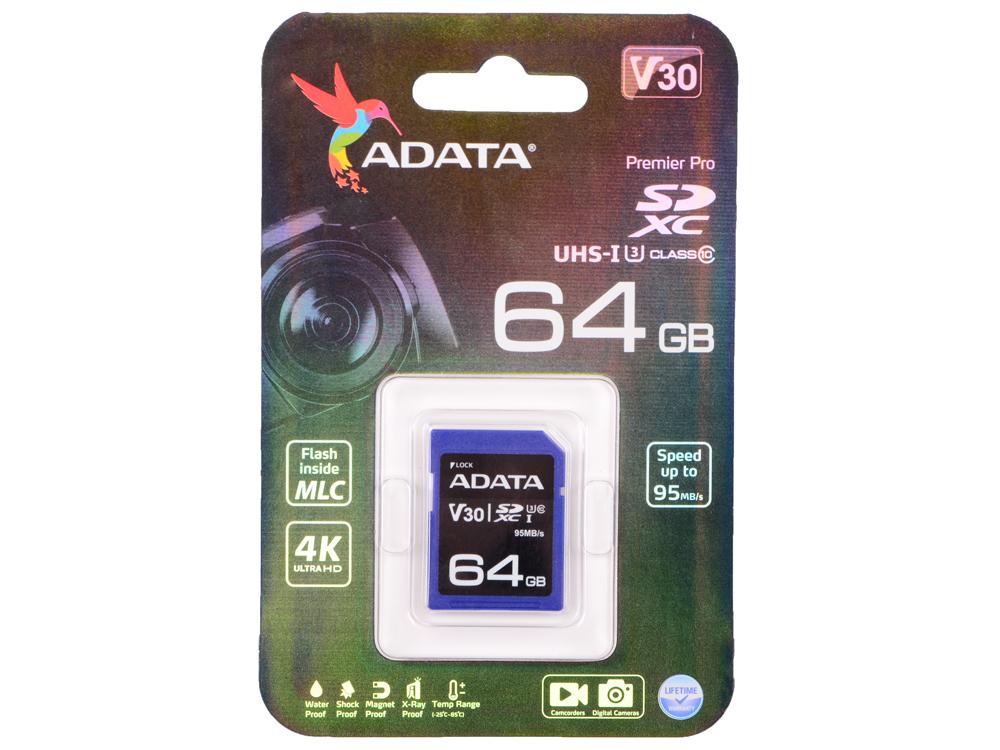 Карта памяти 64GB Premier Pro SDXC UHS-I U3 Class 10 (V30S) 100/60MB/s карта памяти sdxc 64gb class 10 transcend uhs i ts64gsdxc10u1