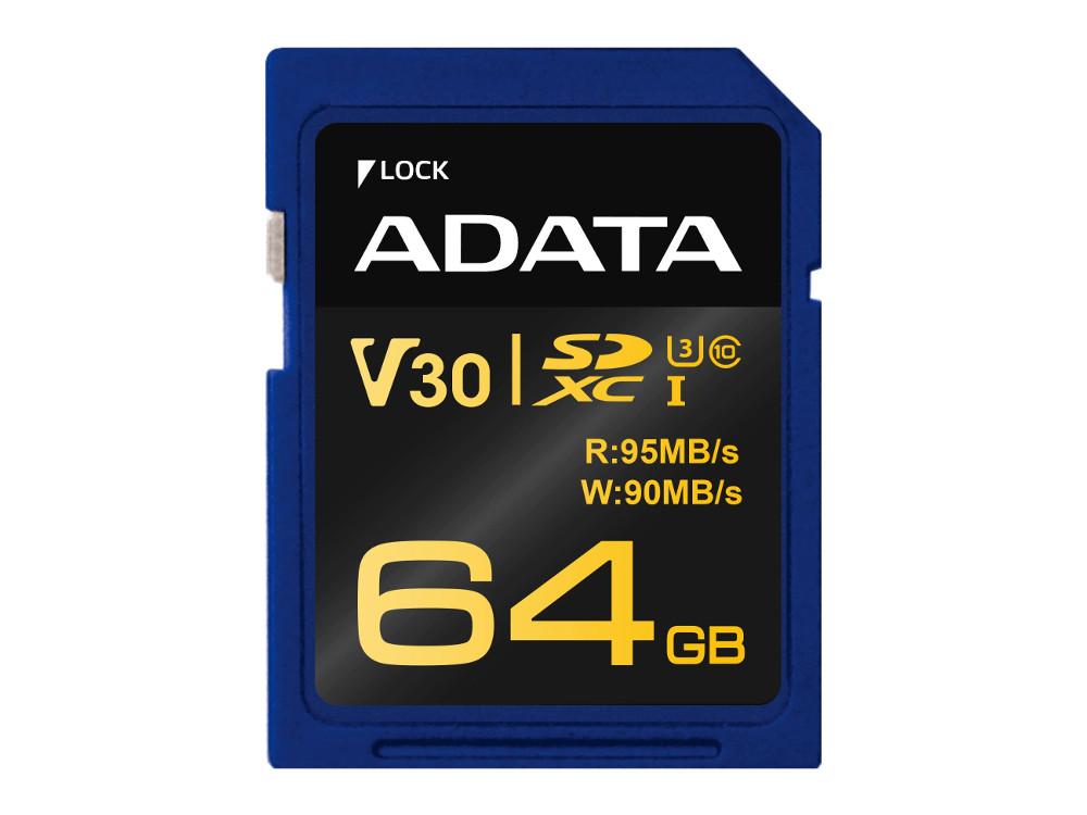 Карта памяти 64GB ADATA Premier Pro SDXC UHS-I U3 Class 10 (V30G) 95/90MB/s adata premier sdxc sdhc uhs i class10 32gb memory card blue