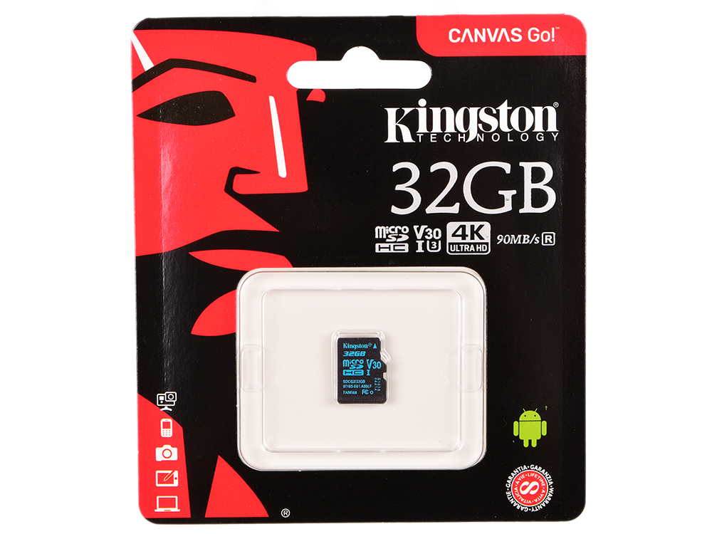 Карта памяти microSDHC 32Gb Class10 Kingston SDCG2/32GBSP Canvas Go w/o adapter cather w o pioneers