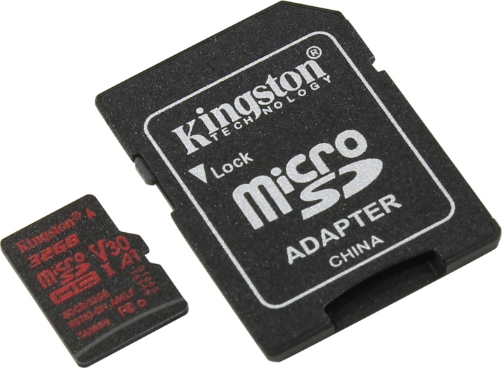 Карта памяти microSDHC 32Gb Class10 Kingston SDCR/32GB Canvas React + adapter
