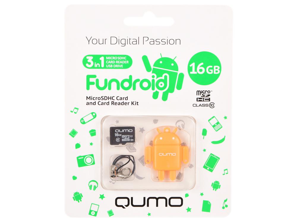 Карта памяти Micro SDHS 16GB class 10 Qumo + USB картридер FUNDROID оранжевый цена