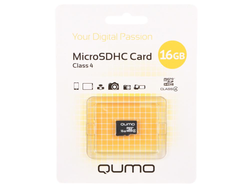 Карта памяти Micro SDHS 16GB class 4 Qumo без адаптера qumo microsdhc сlass 4 16gb