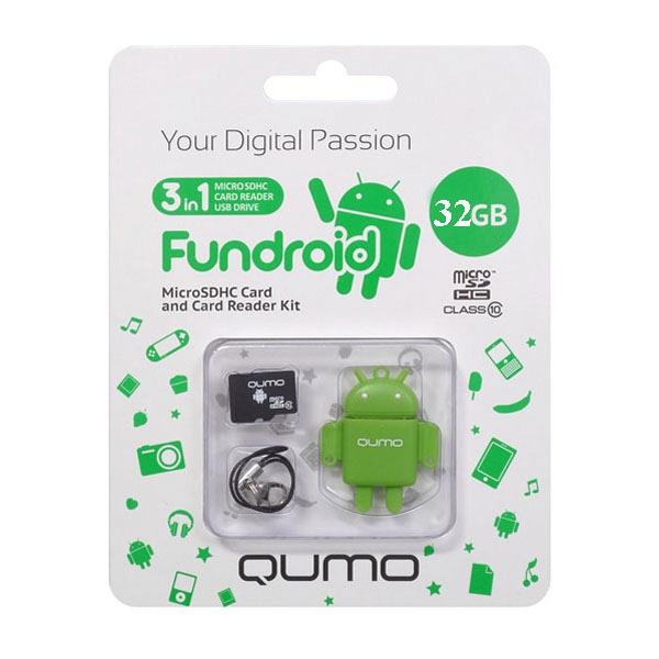Карта памяти Micro SDHS 32GB class 10 Qumo + USB картридер FUNDROID зеленый fillinlight светло зеленый 32gb