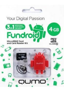купить Карта памяти Micro SDHS 4GB class 10 Qumo + USB картридер FUNDROID красный недорого
