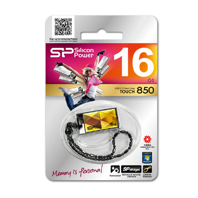 USB флешка Silicon Power Touch 850 Amber 16GB Gold (SP016GBUF2850V1A) USB 2.0 цена и фото