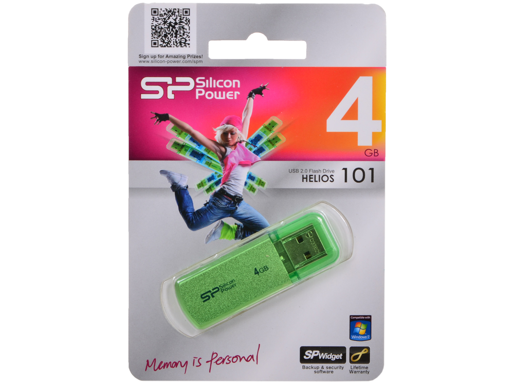 USB флешка Silicon Power Helios 101 Green  4GB (SP004GBUF2101V1N)