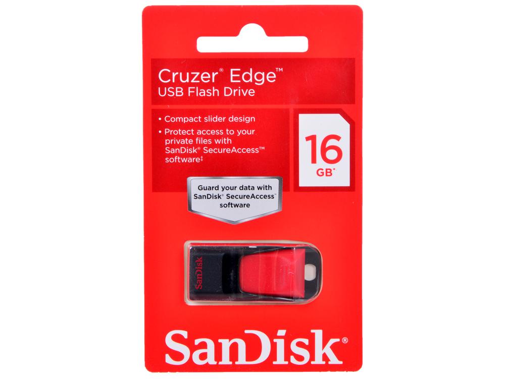 USB флешка SanDisk Cruzer Edge 16GB (SDCZ51-016G-B35) флешка usb sandisk cruzer edge 32гб usb2 0 красный и черный [sdcz51 032g b35]