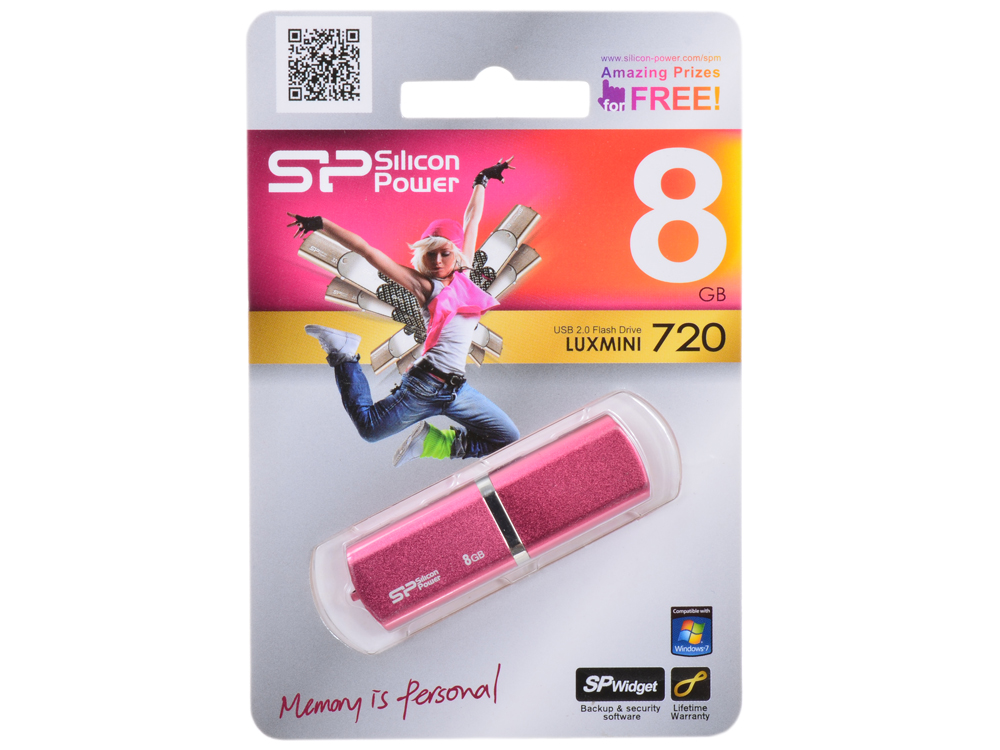 USB флешка Silicon Power LuxMini 720 Pink  8GB (SP008GBUF2720V1H)