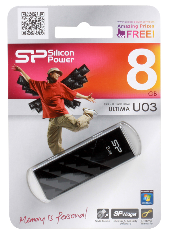 USB флешка Silicon Power Ultima U03 Black  8GB (SP008GBUF2U03V1K)