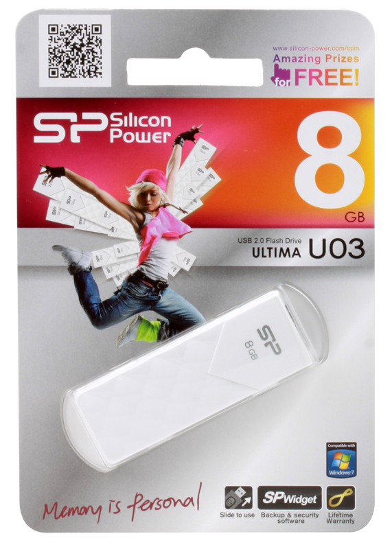 Внешний накопитель Silicon Power Ultima U03 White  8GB (SP008GBUF2U03V1W)