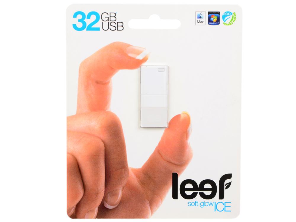 Внешний накопитель 32GB USB Drive (USB 2.0) Leef ICE White Прозрачный, с мягкой подсветкой leef bridge lfbri 032gkr 32gb usb microusb black
