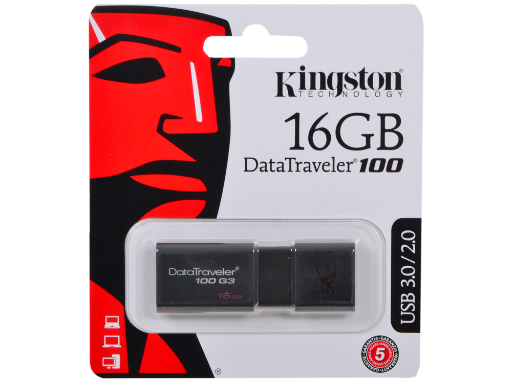 Фото - USB флешка Kingston DT100G3 16GB (DT100G3/16GB) usb флешка kingston dt100g3 64gb dt100g3 64gb