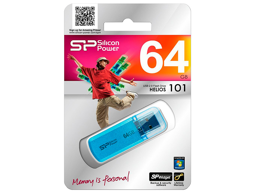 USB флешка 64GB USB Drive (USB 2.0) Silicon Power Helios 101 Blue (SP064GBUF2101V1B)