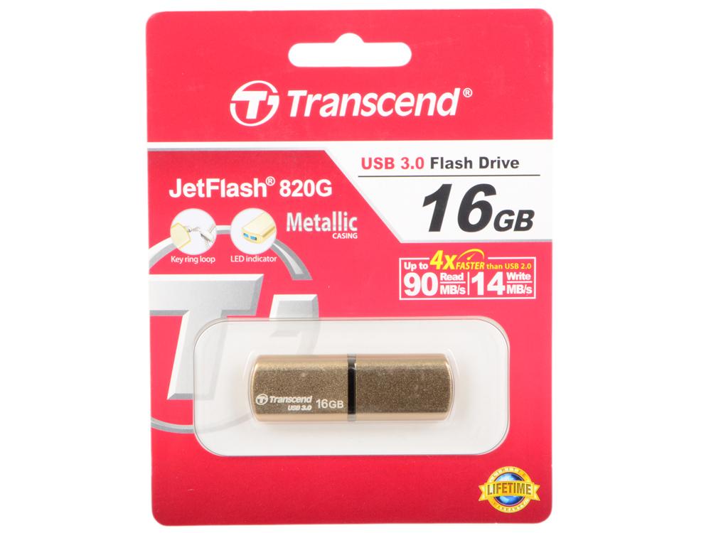Флешка USB 16Gb Transcend Jetflash 820G USB3.0 TS16GJF820G золотистый флешка usb 16gb transcend jetflash 750 usb3 0 ts16gjf750k черный