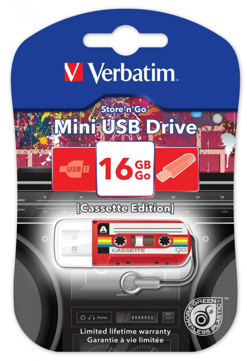 Флешка USB 16Gb Verbatim Mini Cassette Edition 49398 USB красный
