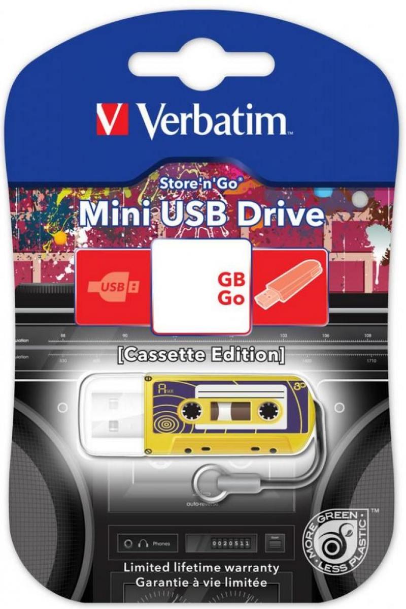 Флешка USB 16Gb Verbatim Mini Cassette Edition 49399 USB желтый флеш диск verbatim 16gb mini cassette edition black 49397
