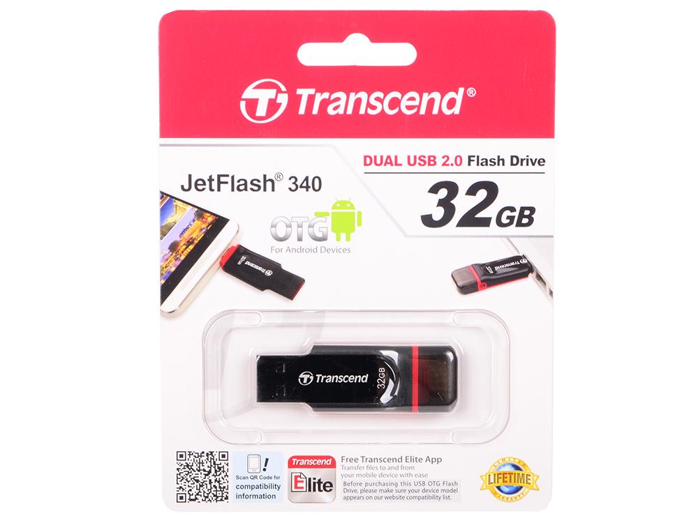 Флешка USB 32Gb Transcend JetFlash 340 TS32GJF340 черный флешка usb 32gb transcend jetflash 750 usb3 0 ts32gjf750k черный