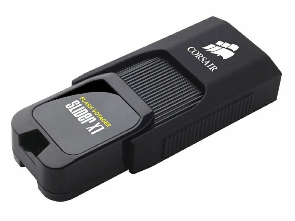 Флешка USB 256Gb Corsair Voyager Slider X1 CMFSL3X1-256GB черный флешка usb 128gb corsair voyager slider x2 cmfsl3x2 128gb черно голубой
