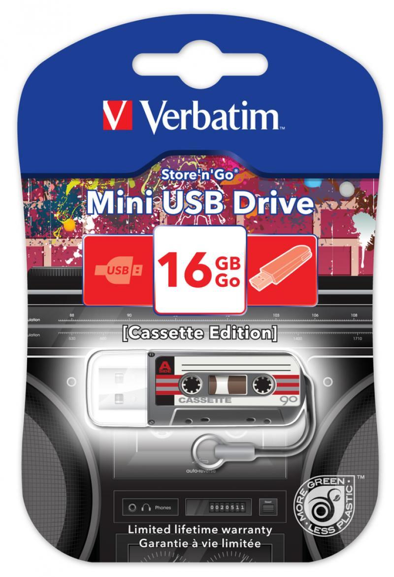 Флешка USB 16Gb Verbatim Mini Cassette Edition 49397 USB черный флеш диск verbatim 16gb mini cassette edition black 49397