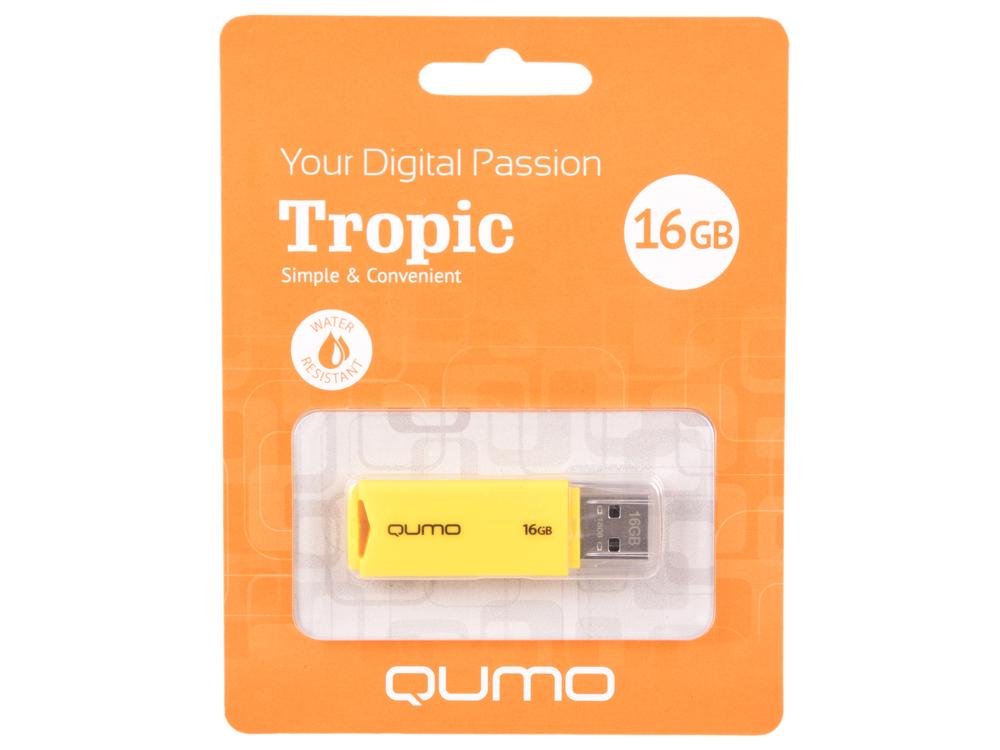 USB флешка QUMO Tropic 16GB Green (QM16GUD-TRP-Yellow) USB 2.0 флешка usb 16gb qumo click usb2 0 бело фиолетовый qm16gud clk violet