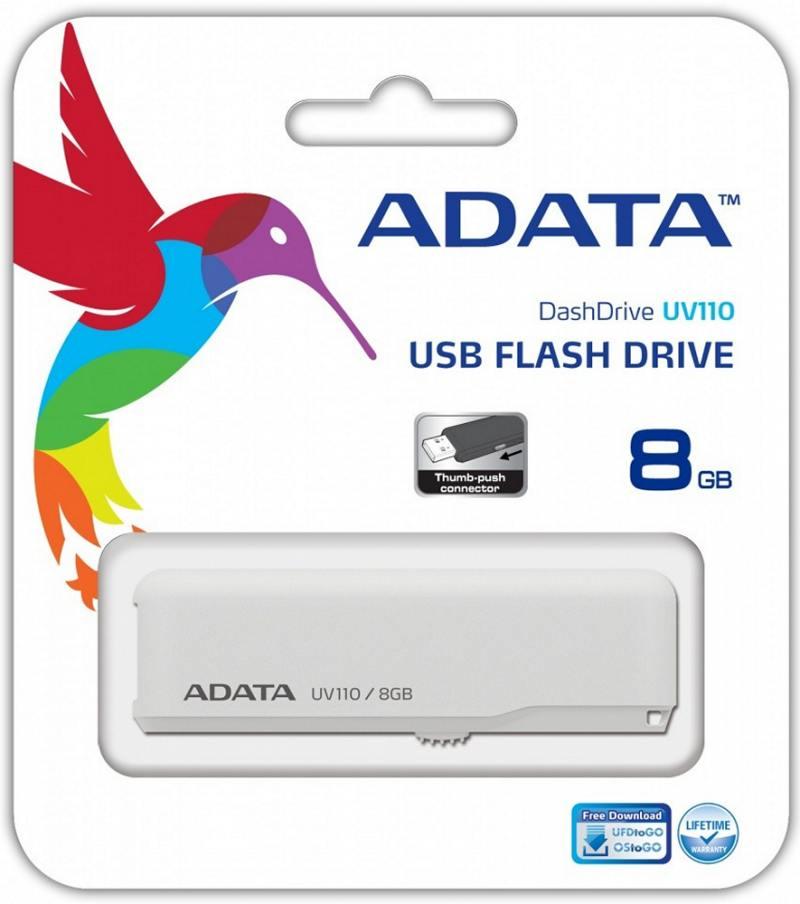 Флешка USB 8Gb A-Data UV110 AUV110-8G-RWH белый