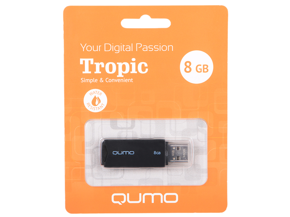 USB флешка QUMO Tropic 8Gb Black (QM8GUD-TRP-Black) USB 2.0 zp 8gb флешка диск usb usb 2 0 пластик zp17101