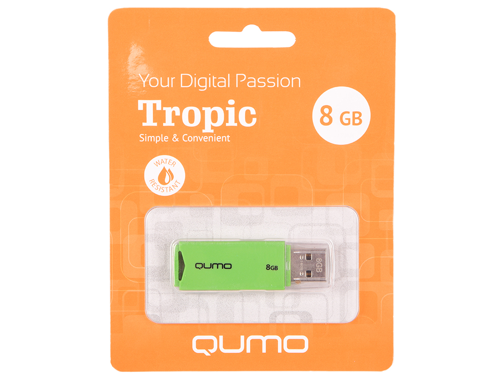 USB флешка QUMO Tropic 8GB Green (QM8GUD-TRP-Green) USB 2.0 usb флешка qumo click 8gb green qm8gud clk mint usb 2 0