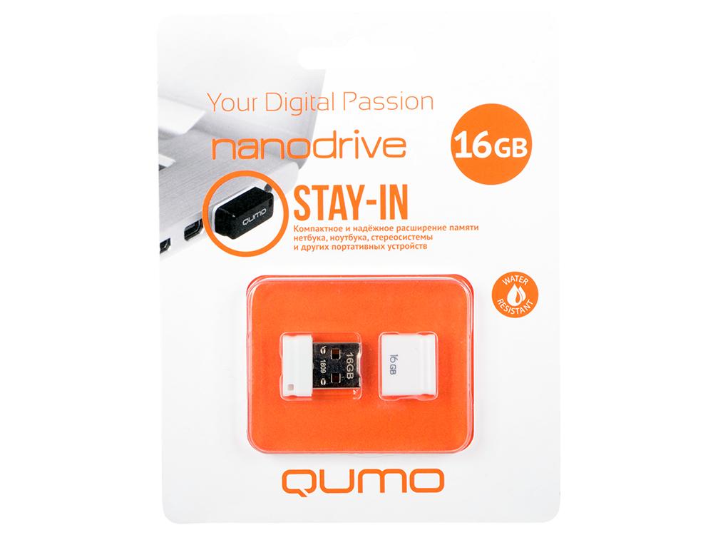 USB флешка QUMO NanoDrive 16Gb White QM16GUD-NANO-W USB 2.0 usb 2 0 qumo 16gb nano [qm16gud nano w] white