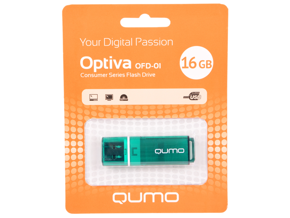 USB флешка QUMO Optiva 01 16GB Green (QM16GUD-OP1-green) USB 2.0 флешка usb 16gb qumo optiva 01 usb2 0 белый qm16gud op1 white