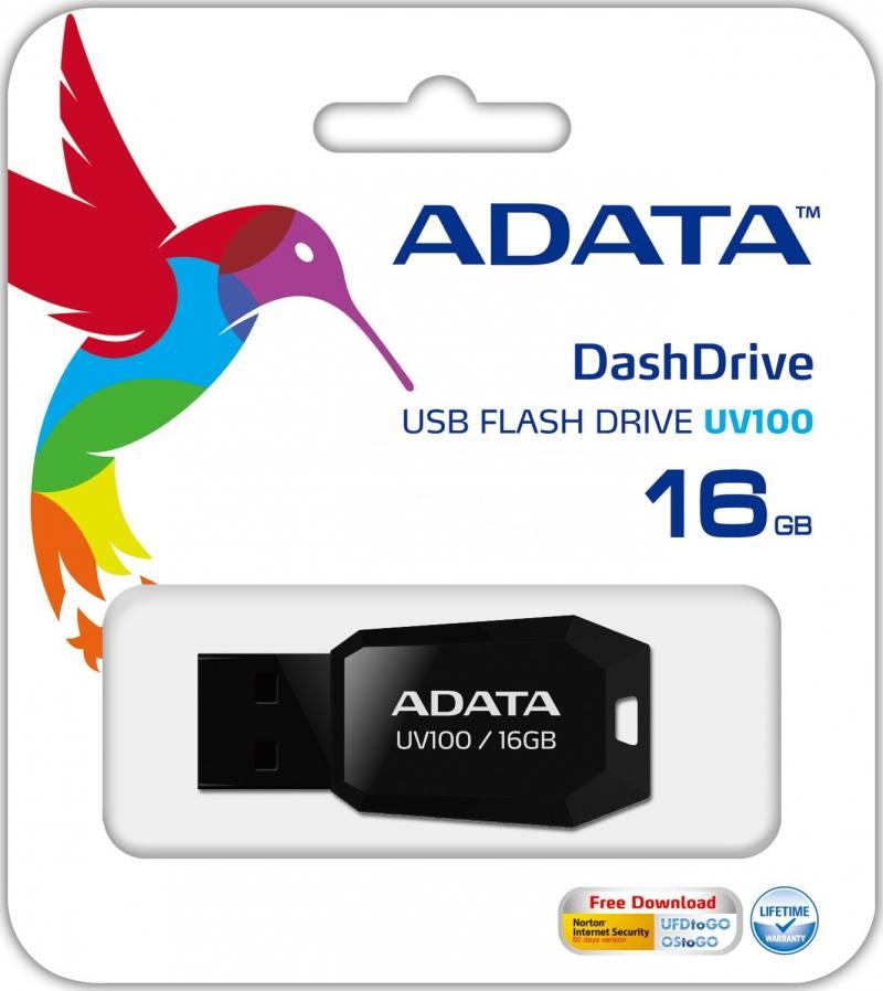 Флешка USB 16Gb A-Data UV100 AUV100-16G-RBK черный
