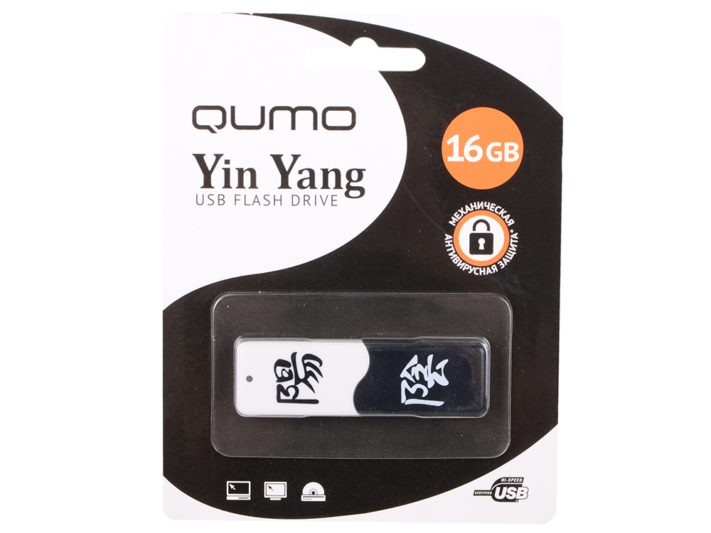 USB флешка QUMO Yin&Yan 16Gb Black White (QM16GUD-Y&Y) USB 2.0 флешка usb 16gb qumo optiva 01 usb2 0 белый qm16gud op1 white