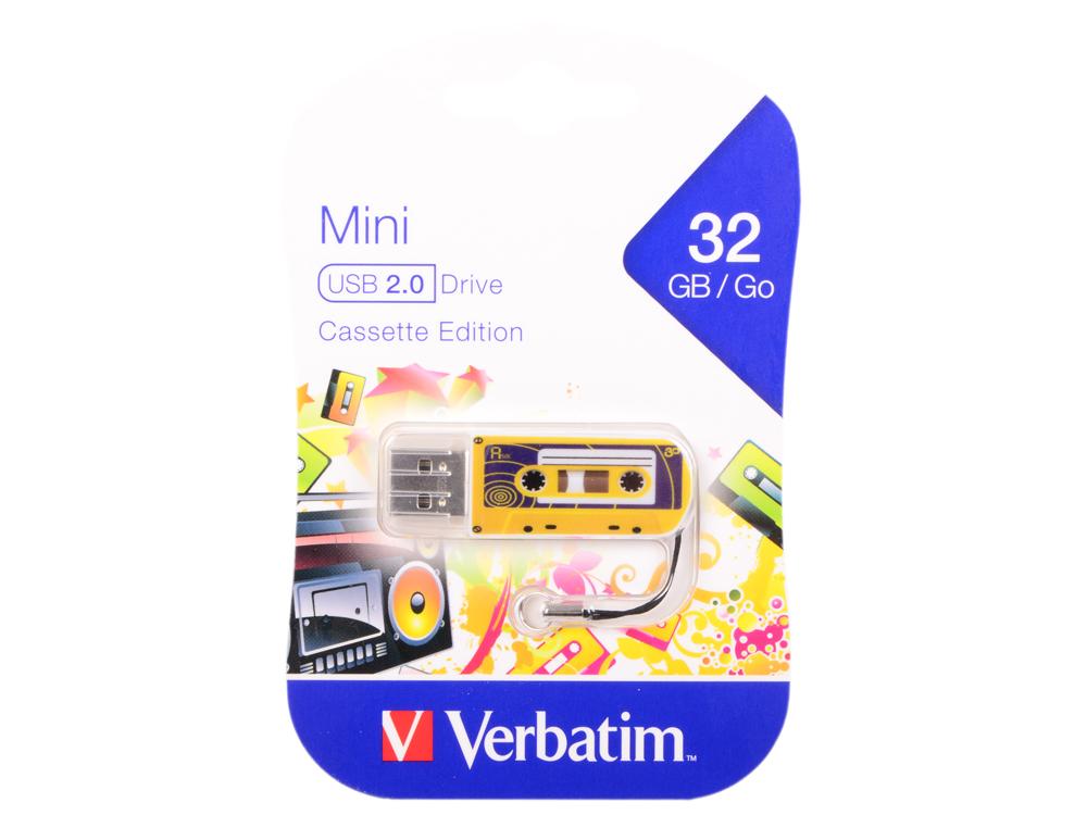 Флешка USB 32Gb Verbatim Mini Cassette Edition 49393 USB желтый mini usb air humidifier 310 ml mist maker crystal ultrasonic mini charging aroma essential oil diffuser aromatherapy for home