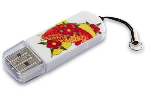 Флешка USB 32Gb Verbatim Mini Tattoo Koi 49897 USB2.0 белый с узором tattoo ink cups 500 13 caps tattoo supplies