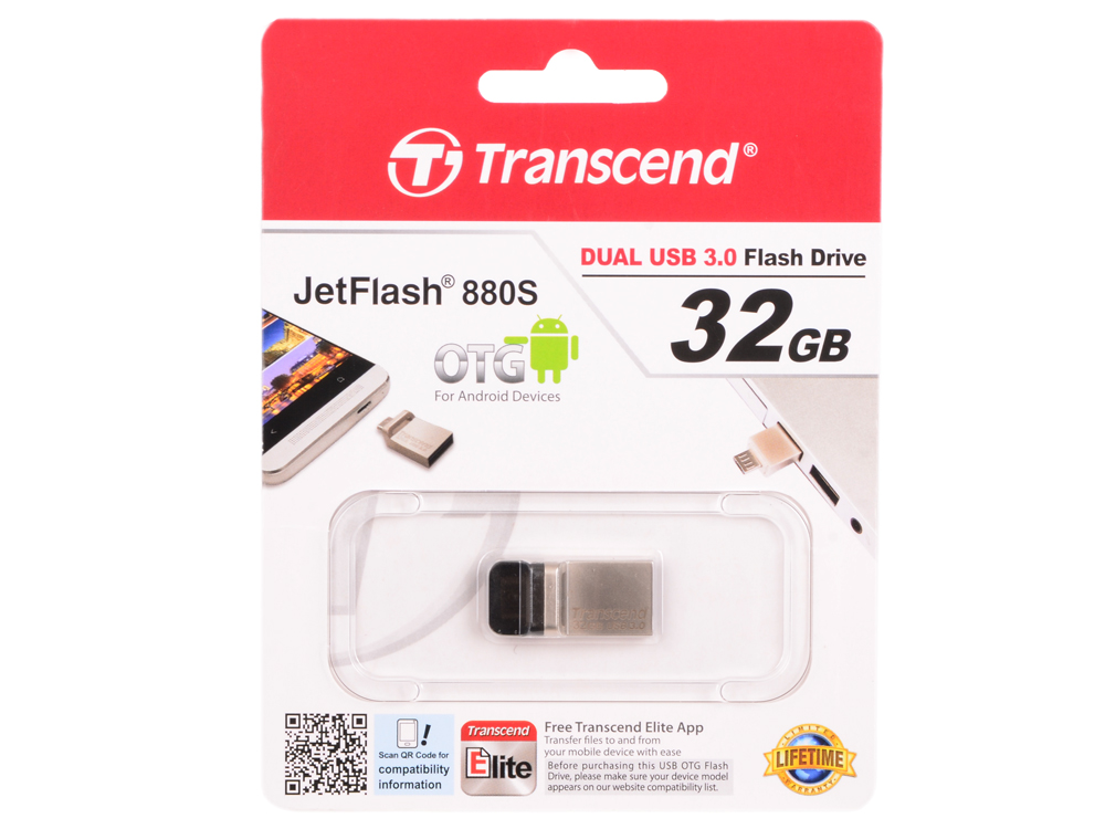 Флешка USB 32Gb Transcend JetFlash 880 TS32GJF880S серебристый usb флешка transcend jetflash 330 32gb оранжевый