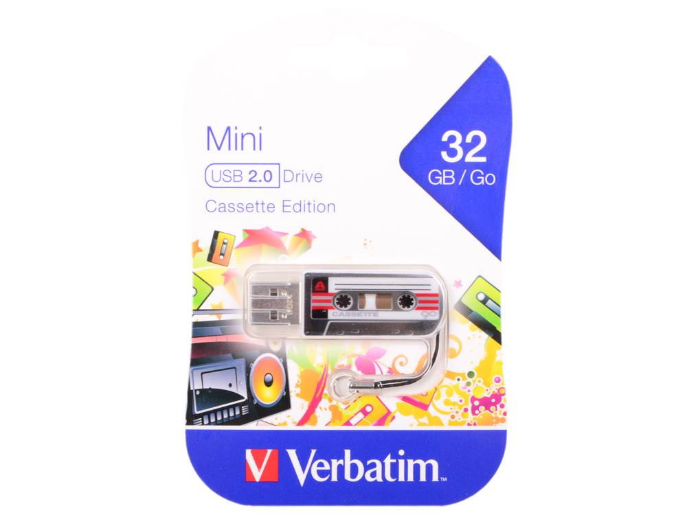 Флешка USB 32Gb Verbatim Mini Cassette Edition 49391 USB черный флешка usb 32gb verbatim mini cassette edition 49392 usb красный