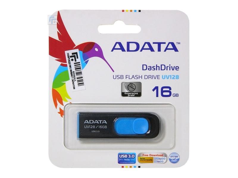 Флешка USB 16Gb A-Data UV128 AUV128-16G-RBE сине-черный  флешка adata a data dashdrive uv128 32гб черный синий пластик usb 3 0