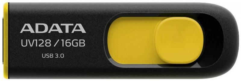 Флешка USB 16Gb A-Data UV128 AUV128-16G-RBY желто-черный флешка adata a data dashdrive uv128 32гб черный синий пластик usb 3 0