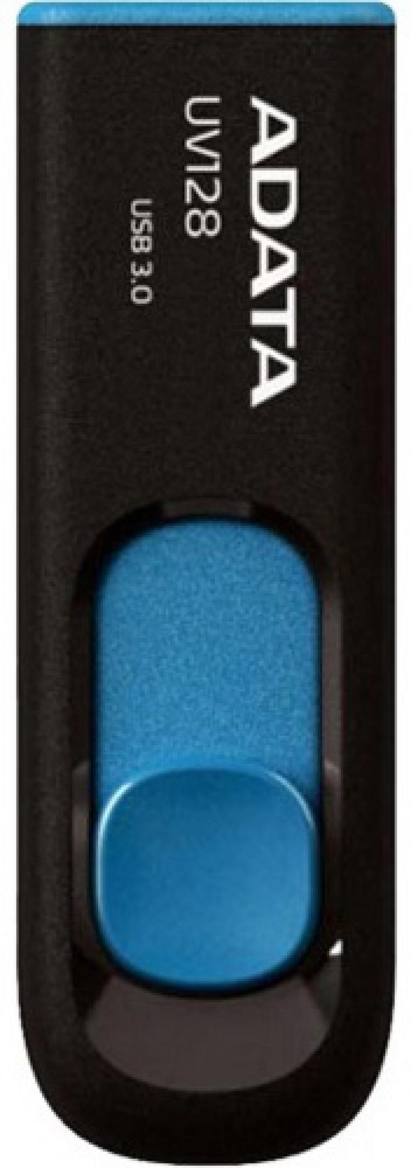 Флешка USB 64Gb A-Data UV128 USB3.0 AUV128-64G-RBE синий флешка adata a data dashdrive uv128 32гб черный синий пластик usb 3 0