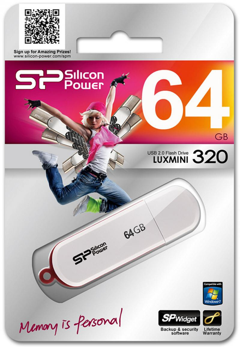 Флешка USB 64GB Silicon Power Luxmini 320 SP064GBUF2320V1W белый USB 2.0 карта памяти sdxc 64gb class 10 kingston sda10 64gb uhs i read 60mb s write 35mb s