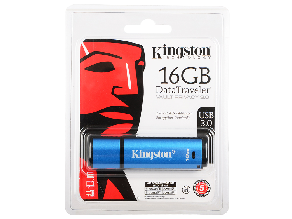Флешка USB 16Gb Kingston DataTraveler Vault with Privacy DTVP30/16GB синий брюки gerry weber gerry weber ge002ewabmi7