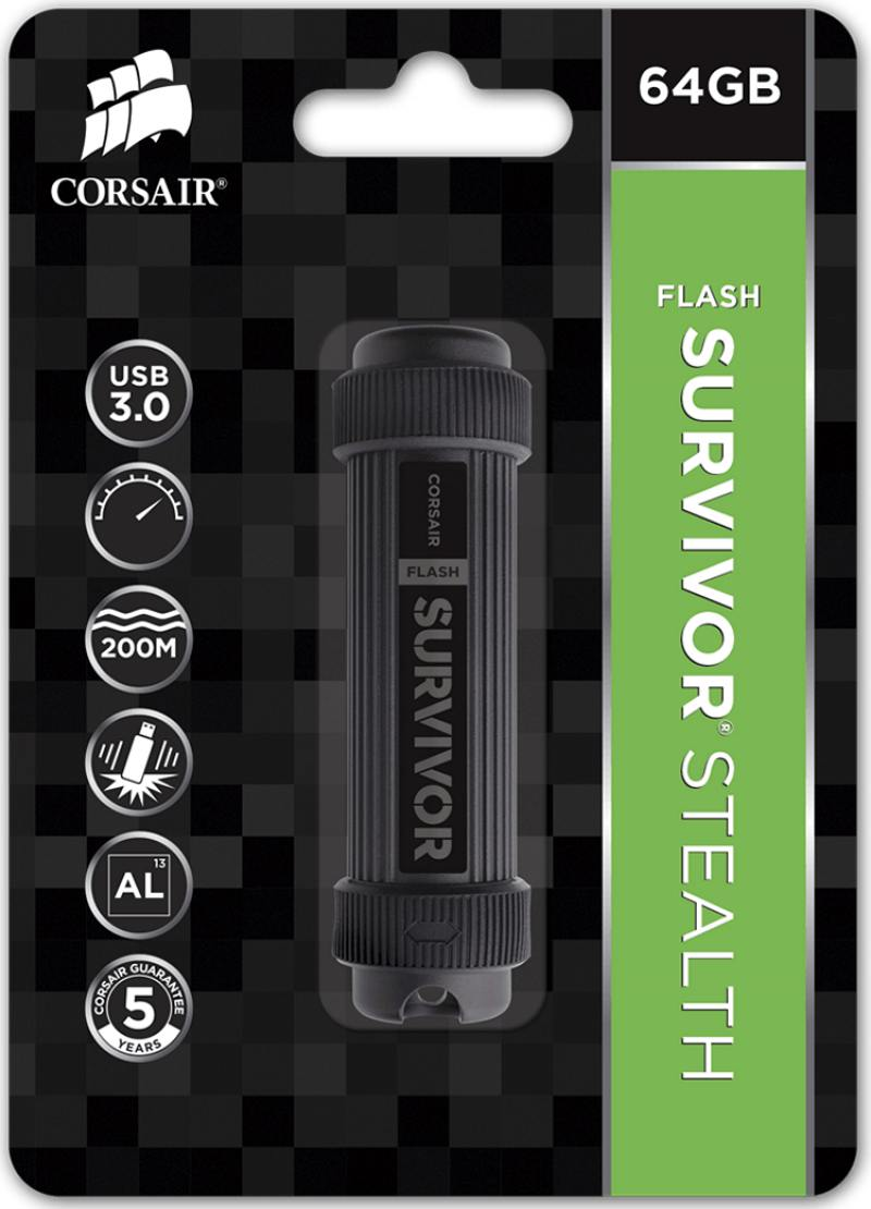 Флешка USB 64Gb Corsair Survivor Stealth CMFSS3B-64GB черный флешка usb corsair survivor stealth 32гб usb3 0 черный [cmfss3b 32gb]
