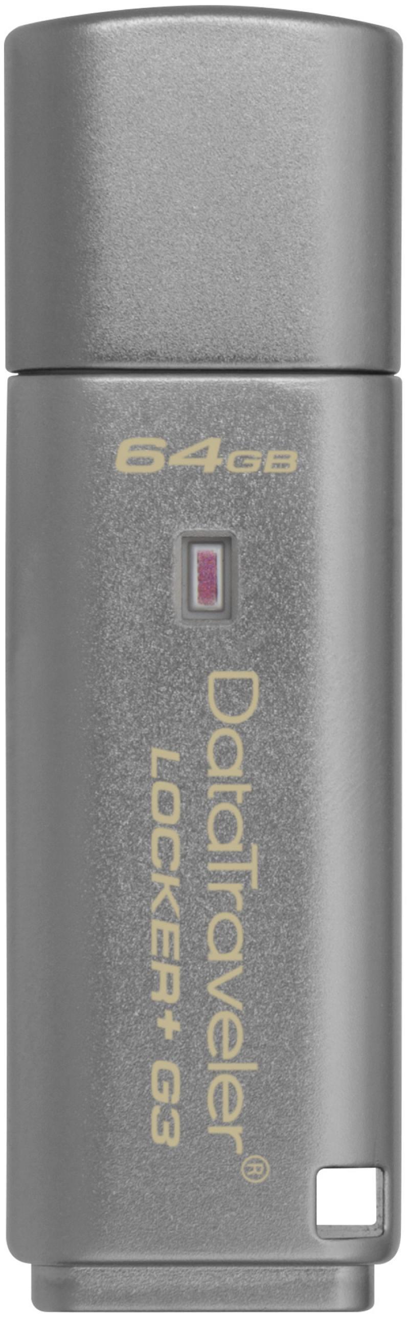Флешка USB 64Gb Kingston DataTraveler LPG2 DTLPG3/64GB серебристый Locker+G3