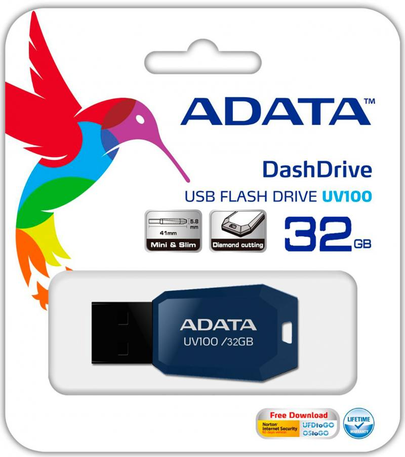 Флешка USB 32Gb A-Data UV100 USB2.0 AUV100-32G-RBL синий