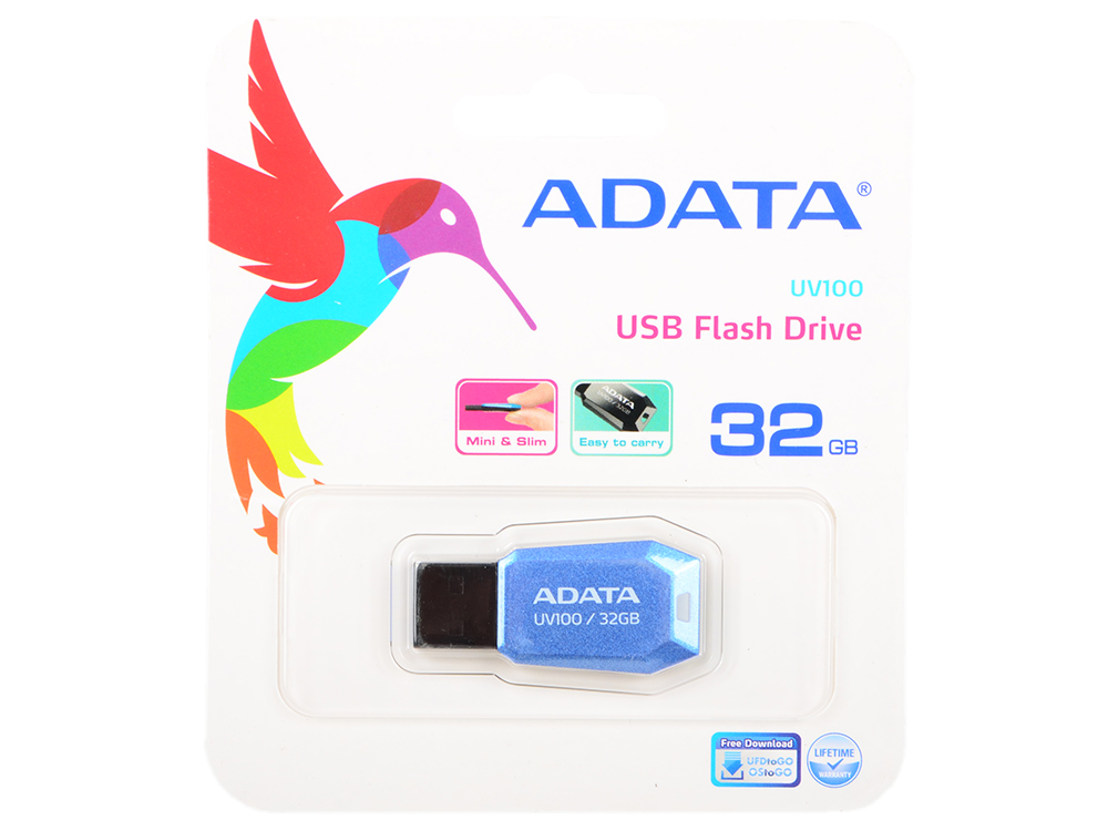 Флешка USB 32Gb A-Data UV100 USB2.0 AUV100-32G-RBL синий флэш диск adata uv100 red 32gb auv100 32g rrd