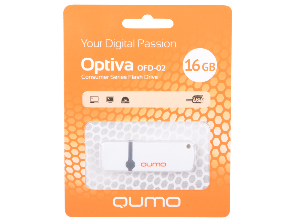 USB флешка QUMO Optiva 02 16Gb White (QM16GUD-OP2-White) USB 2.0 флешка usb 16gb qumo yin
