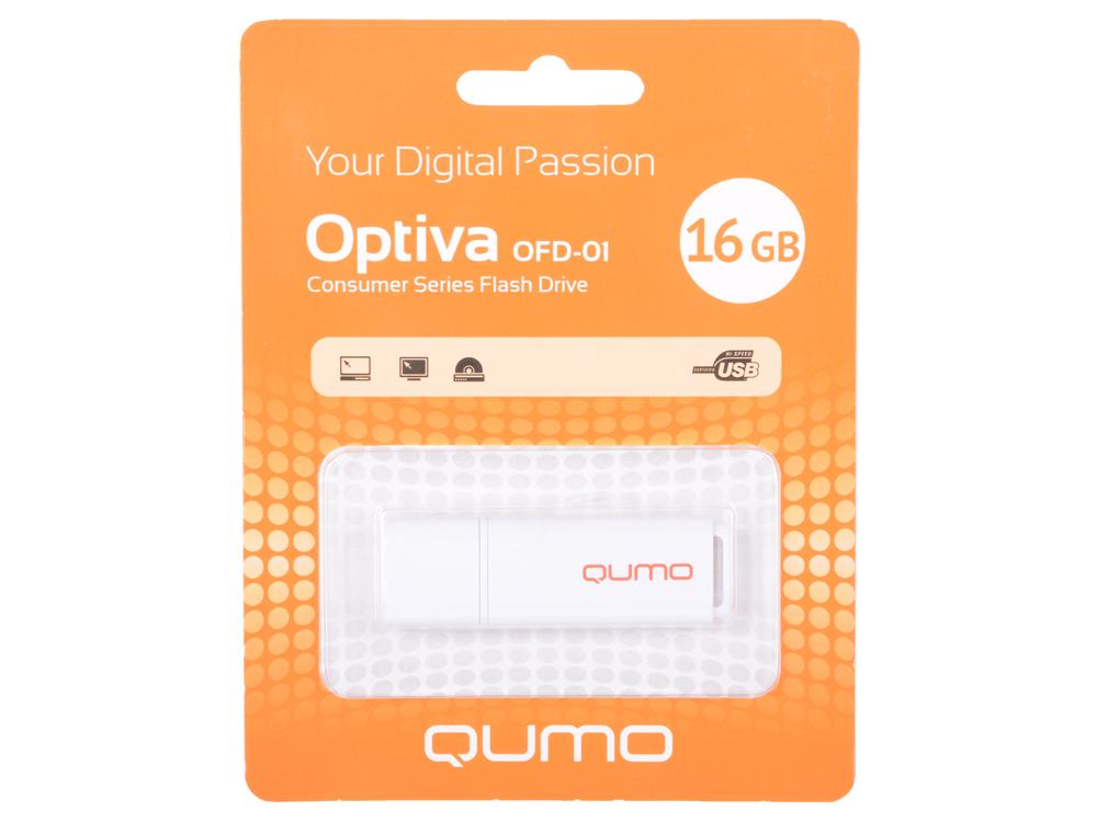 USB флешка QUMO Optiva 01 16GB Green (QM16GUD-OP1-white) USB 2.0 флешка usb 16gb qumo click usb2 0 бело фиолетовый qm16gud clk violet