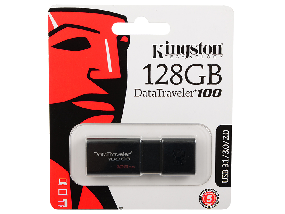 Флешка USB 128Gb Kingston DataTraveler 100 G3 DT100G3/128GB черный флешка usb 128gb corsair voyager go cmfvg 128gb черный